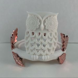 Bath Body Works White Owl Rose Gold Candle Holder
